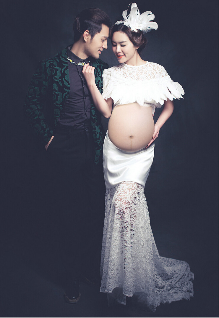 Women Maternity Funny Photography Prop Lace Dresses for Pregnant Pregnancy Gown Clothes Photo Shoot Dress Photography Props<br>