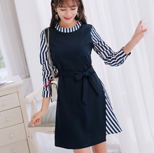 Korean spring autumn dress women clothing cute long sleeve dress stripe patchwork Navy blue dress fashion bodycon dress Vestidos
