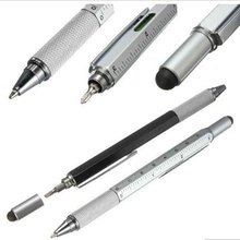 1pcs/lot New Arrival Tool Ballpoint Pen Screwdriver Ruler Spirit Level with a top and scale multifunction 6 in 1 pen