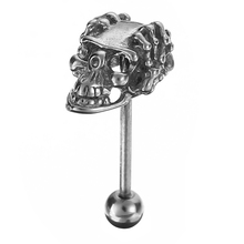 Shellhard Fashion Tongue Piercing Vintage Silver Color Stainless Steel Skull Hand Bar Barbell Tongue Stud Piercing Jewelry Men
