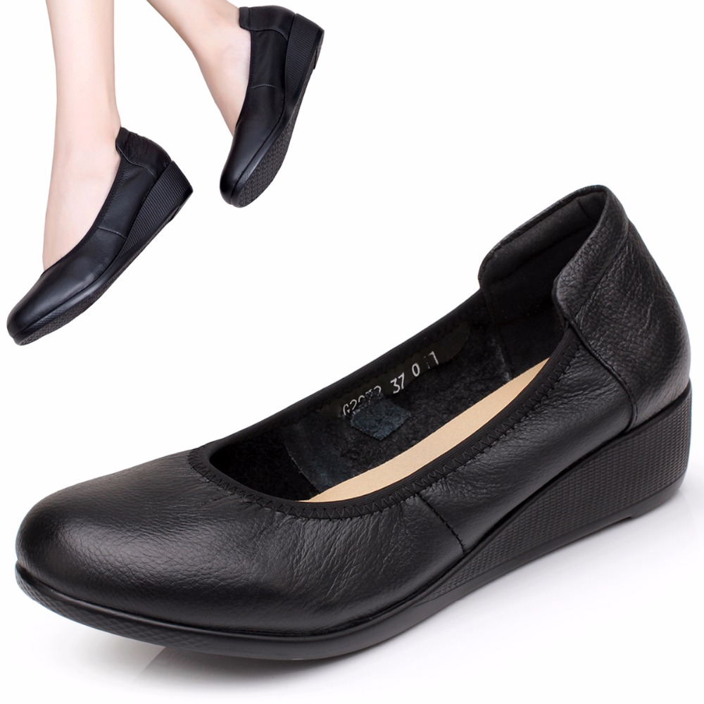 Handmade soft bottom comfort casual leather shoes black slope with round singles shoes work shoes work shoes<br><br>Aliexpress