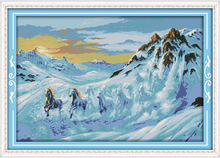 Horses running in the snow mountain Printed Canvas DMC Counted Cross Stitch Kits printed Cross-stitch set Embroidery Needlework