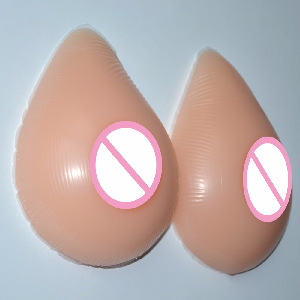 1pair 500g Natural Artificial Silicone Breast Form False Chest Prosthesis Boobs Enhancer For Crossdresser Water-drop Shape