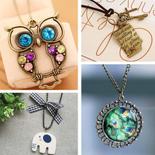 N152 Antique Pendant Necklace Long Chain Retro Elephant Owl Letters Necklaces Fashion Jewelry for Women Gift Everyday Wear 2017