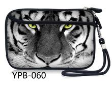 "White Tiger Head Neoprene 2.5"" Portable External Hard Disk Drive Bag Carry Case Pouch Soft Pocket(China)"