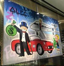 Free shipping pop artist Painting Richie Rich Graffiti Money art Alec Monopoly Banksy arts By hand painted no frame x-179