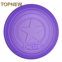 Tope New Captain America Shield Shaped 3D Silicone Mould Fondant DIY Chocolate cake decorating molds Tools C3031(China)