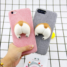 corgi handmake Needle Wool felt cute cat dog butt ass cover for apple iphone 6 6s plus 7 7P 8 8P X soft mobile phone Case capa(China)