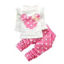 Baby Girls Clothes Kids Clothing set Children Cartoon Long sleeve T shirt+Dot pants cotton Sport set 2pcs Baby wear
