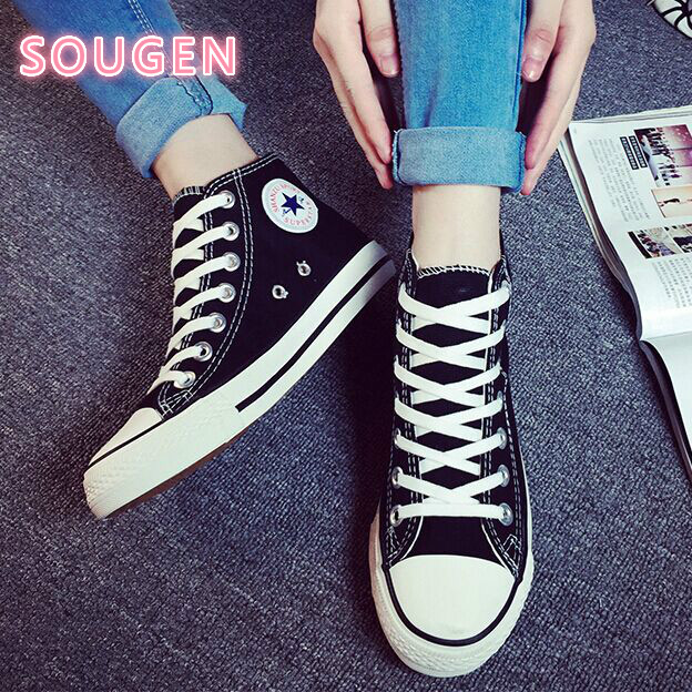2017 New Spring Autumn Canvas Shoes Womens Shoes Korean Flat Casual Shoes White Black Red Blue Breathable Fashion Zapatos Mujer<br><br>Aliexpress