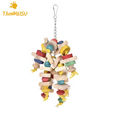Wood Colorful Parrot Toys Chew Toy Pet Bird Toys Hanging Swing Cage Toys For Parrots Pet Bird Random Color Newest(China)