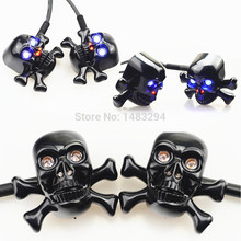 Blue Eyes LED Black Custom Skull Front Turn Signal Light Blinkers Fits fits for Harley Crusier Chopper Motorcycle