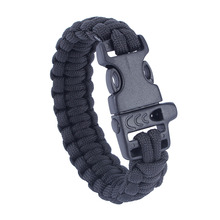 Military Army Camping Hiking Climbing Paracord Bracelet Survival Gear Kit Whistle Lifesaving Braided Rope Tactical Wrist Band