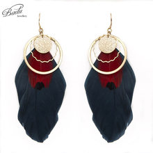 Badu Handmade Round Alloy Pendant Pendant with Big Real Feather Pendant Dangle Earrings for Women Indian Style Jewelry Gifts
