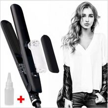 Professional 40W Hair Straightener Rollers Ceramic Steam Flat Iron Vapor Plate Wet/Dry Led Ferro Hair Iron Steamer Styling Tool(China)