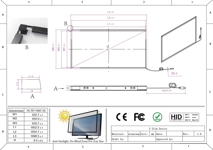 75 inch multi touch frame overlay