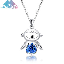 Miss Lady High Quality Crystal Figure Necklace Short Pendant For Women Fashion Angel Wings Jewelry SY-N00434