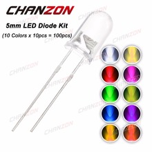 100pcs (10 colors x 10pcs) 5mm LED Diode 5 mm 3V Assorted Kit Clear Warm White Green Red Blue UV DIY Light Emitting Diode 20mA