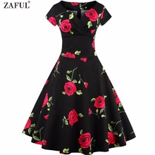 ZAFUL Women Vintage 50s Dress Rockabilly Swing Retro Rose Floral Print Femino Vestidos Ball Gow Party Prom 60s 2XL Cotton Dress