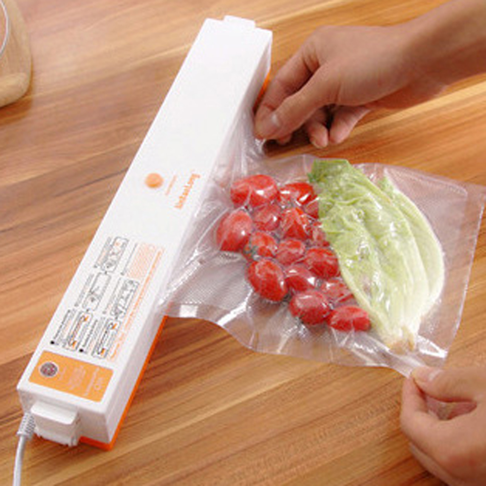 100W Household Food Vacuum Sealer Packaging Machine Automatic Electric Film Food Sealer Vacuum Packer White With orange<br>