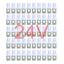 50x Colorful Truck 12V 24V LED T10 5LED 194 168 W5W 5 SMD 5050 5SMD LED Wedge Light Bulb Lamp White Green Blue Red Yellow 24V(China)