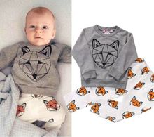 2016 New  Fashion 2pcs Baby Boy Kids Clothes Long Sleeve Geometric Animal Fox Pattern T-shirt+Pants Outfit Clothing Sets Suits