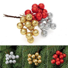 10PCS/1Pack 1.5CM  Red Silver Color Gift Christmas Tree Ornament Home Decoration Artifical Foam Small Ball Fruit
