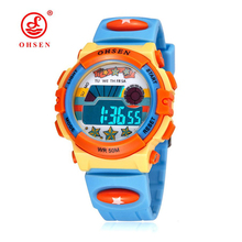 Original OHSEN Brand Children Boys Digital LCD Wristwatch Light Blue Silicone Band Kids Electronic Sports 50M Waterproof Watches