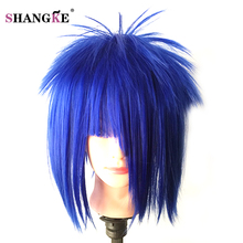 SHANGKE Short Blue Hair Wigs Women Natural Synthetic For Black Women Hair Wigs White Heat Resistant Synthetic Straight Haircuts(China)