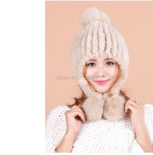 Women's Winter Hats Lined Natural Real Fur Cap New Fur Knitted Cap Women Pineapple Hat Genuine Mink Fur Hat Female Winter SF0209