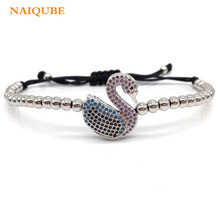 NAIQUBE 2017 Hot Fashion Pave Color CZ High Quality Swan 4mm Bead Braided Macrame Charm Bracelet For Women Jewelry Gift(China)