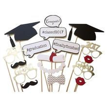 17pcs Mustache On A Stick Photo Booth Props Bachelor Hat Cap Certificate Photobooth Graduate Party Decoration Supplies