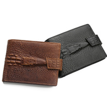 New Arrival Men 's Business Cow Leather Hasp Crocodile Pattern Bifold Wallet Card Holder Purse Coin Pocket For Man Gift(China)