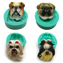 Puppy dog Breed face silicone cake decoration mold animal cupcake making modeling chocolate resin sugarcraft polymer clay mould(China)