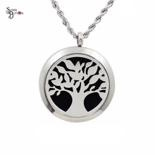 10Pcs Silver Tree of life Aromatherapy Lockets/Essential Oils Diffuser Locket Pendants Stainless Steel Purfume Lockets Pendant(China)