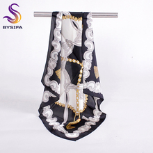Black White Small Square Scarves New Accessories 100% Silk Scarf Ladies Muffler Spring Autumn Female Brand Silk Scarf 55*55cm