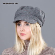 AIWOSHOW 2017 Autumn Winter Octagonal Hats For Women Vintage Woolen Newsboy Cap Girl Colorful Points Berets Boina Octagonal Cap(China)