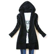 Autumn Women long-sleeve knitted outerwear medium-long hooded cardigan sweater