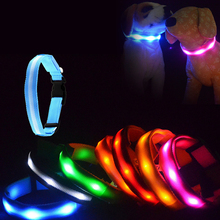 Colorful Nylon Led Pet Dog Night Safety Collar Flashing Glow Light Up Adjustable Wholesales high quality