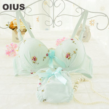 Cute Sweet Yong Girl Lolita Bra Set Chiffon Flora Embroidery Thin Cup Push Up Bra And Panty Set Women Underwear Lingerie UB197