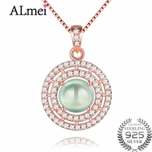 Almei Green Jade Double Circles Pendant Necklaces Silver 925 Rose Gold Color Statement Jewelry for Women with Free Box 40% FN004(China)