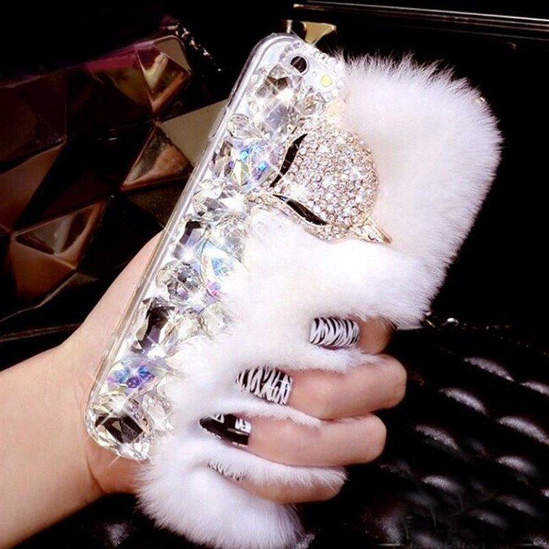 Luxury 3D Fox Rabbit Fur Diamond Crystal Phone font b Cases b font Coque Back Cover