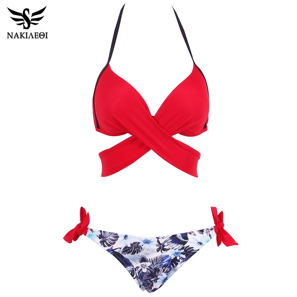 NAKIAEOI 19 Sexy Bikini Women Swimsuit Push Up Swimwear Criss Cross Bandage Halter Bikini Set Beach Bathing Suit Swim Wear XXL 18