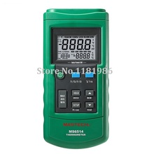 MASTECH MS6514 Dual Channel Digital Thermometer Temperature Logger Tester with USB Interface 1000 Sets Data KJTERSN Thermocouple