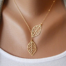 N607 Bijoux Femme Clavicle Necklace Fashion Jewelry Gold Silver Plated Leaf Design Collares HOT Sale(China)