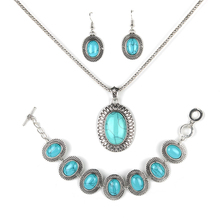 Parabola Elegant figured Pattern Oval Created Turquoises Jewelry Sets Silver Color Earrings Bracelet Necklace for Women ZSS0006