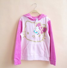 Retail  Children Outerwear Autumn Style pink hello kitty Hoodies Sweatshirt for 7-8yrs Girls jacket for spring