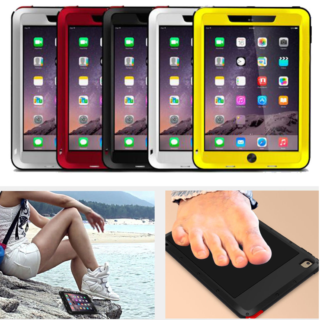 2016 New Powerful Life Waterproof Toughened Glass Shockproof Metal Aluminum Love Mei Case For IPAD Air2 Free Shipping<br>