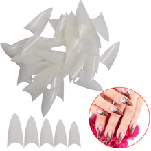 500pcs False Point Stiletto UV Gel Acrylic Nail Making Tips Clear Natural White