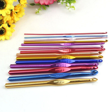High Quality 14Pcs/set Multicolor Aluminum Crochet Hooks Needles Knit Weave Craft Yarn For Handle Craft Tools 14 Size
